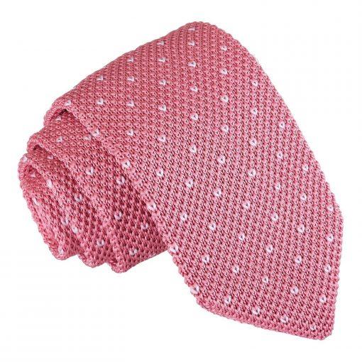 Baby Pink Flecked V Polka Dot Knitted Slim Tie