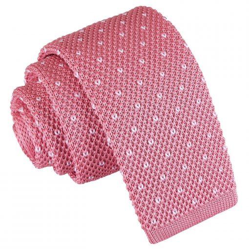 Baby Pink Flecked V Polka Dot Knitted Skinny Tie