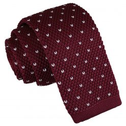Burgundy Flecked V Polka Dot Knitted Skinny Tie