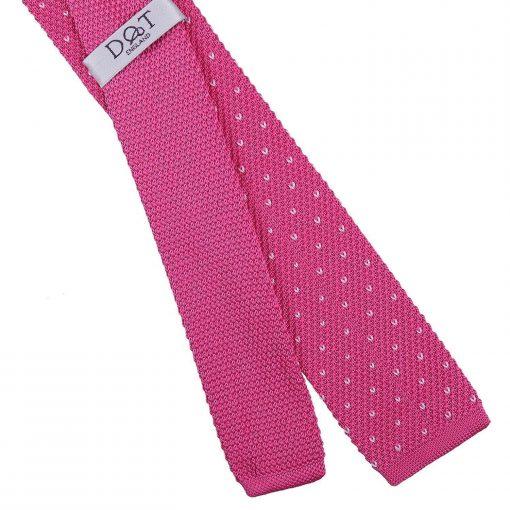 Fuchsia Pink Flecked V Polka Dot Knitted Skinny Tie