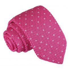 Fuchsia Pink Flecked V Polka Dot Knitted Slim Tie