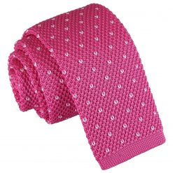 Dark Fuchsia Flecked V Polka Dot Knitted Skinny Tie