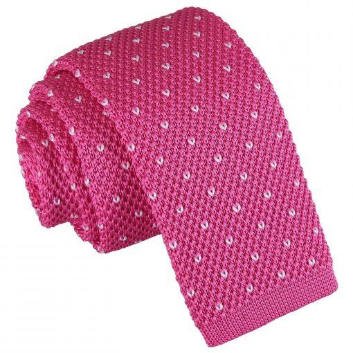 Dark Fuchsia Flecked V Polka Dot Knitted Skinny Tie