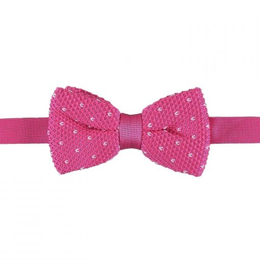 Baby Pink Flecked V Polka Dot Knitted Pre-Tied Bow Tie
