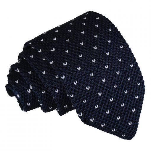 Midnight Blue Flecked V Polka Dot Knitted Slim Tie