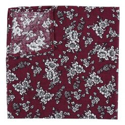 Burgundy Floral Daphne Cotton Handkerchief / Pocket Square