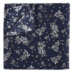 Navy Blue Floral Daphne Cotton Handkerchief / Pocket Square