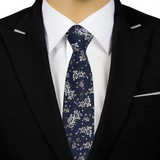 Navy Blue Floral Daphne Cotton Slim Tie
