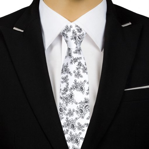 White Floral Daphne Cotton Slim Tie