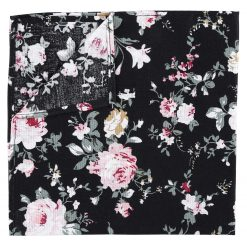 Black Floral Primrose Cotton Handkerchief / Pocket Square