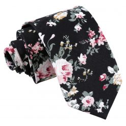 Black Floral Primrose Cotton Slim Tie