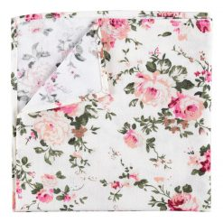 Ivory Floral Primrose Cotton Handkerchief / Pocket Square
