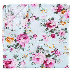 Mint Green Floral Primrose Cotton Pocket Square