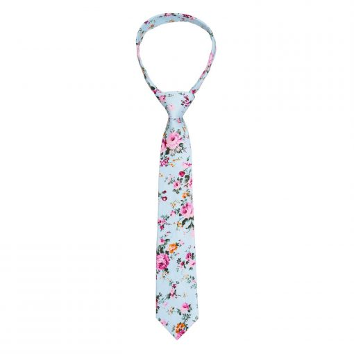 Mint Green Floral Primrose Cotton Slim Tie