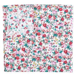Burgundy Floral Sage Cotton Handkerchief / Pocket Square
