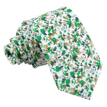 Forest Green Floral Sage Cotton Slim Tie