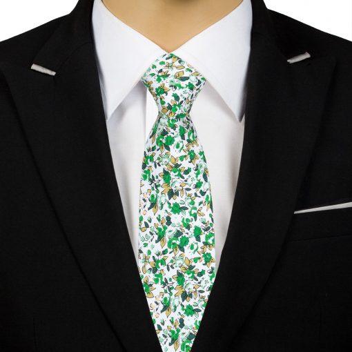 Forest Green Floral Sage Cotton Slim Tie