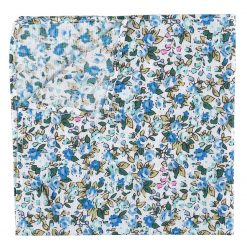 Royal Blue Floral Sage Cotton Pocket Square