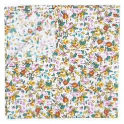 Yellow Floral Sage Cotton Handkerchief / Pocket Square