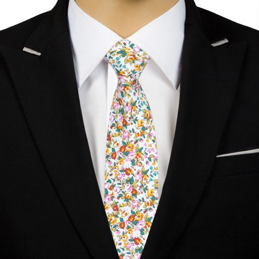 Yellow Floral Sage Cotton Slim Tie