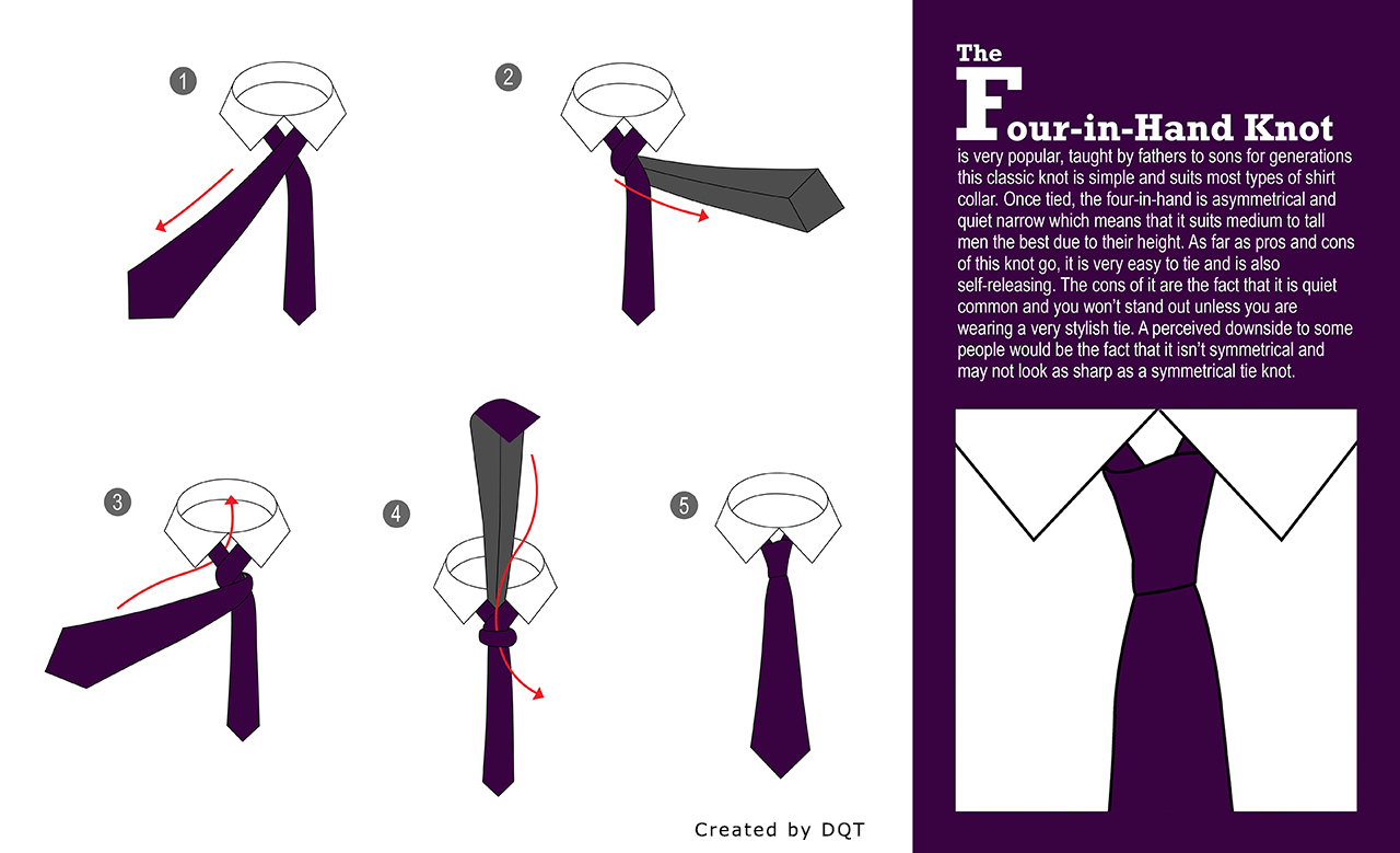 how to tie a four in hand knot by dqt