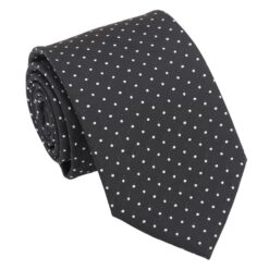 Black and White Geometric Pin Dot Modern Classic Tie