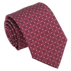 Burgundy and White Geometric Pin Dot Modern Classic Tie