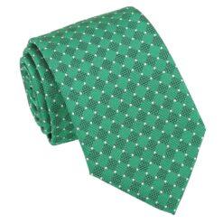 Hunter Green and White Geometric Pin Dot Modern Classic Tie