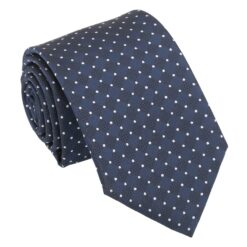 Navy and White Geometric Pin Dot Modern Classic Tie
