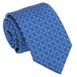 Royal Blue and White Geometric Pin Dot Modern Classic Tie