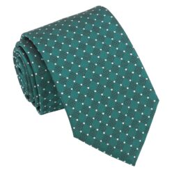 Teal and White Geometric Pin Dot Modern Classic Tie