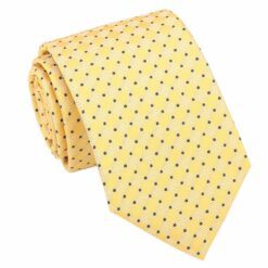 Yellow and Navy Geometric Pin Dot Modern Classic Tie