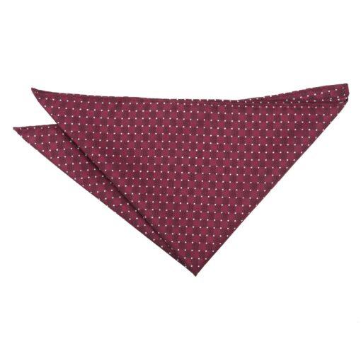 Burgundy and White Geometric Pin Dot Pocket Square