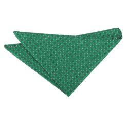 Hunter Green and White Geometric Pin Dot Pocket Square
