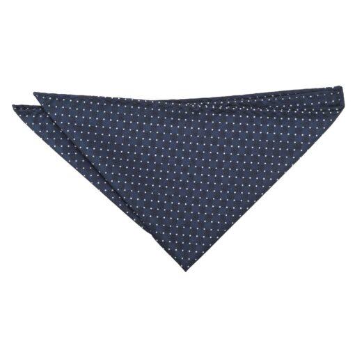Navy and White Geometric Pin Dot Pocket Square