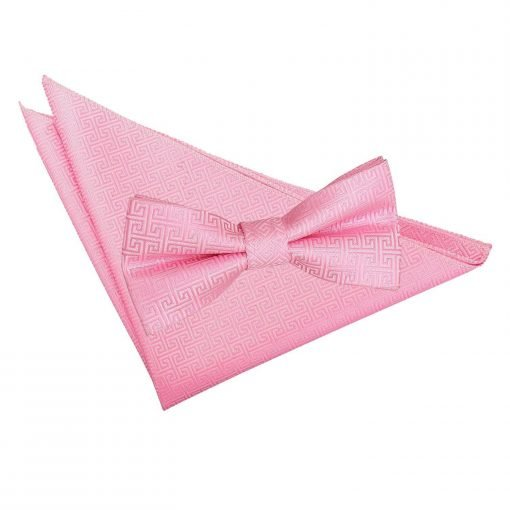 Baby Pink Greek Key Bow Tie & Pocket Square Set