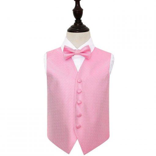 Baby Pink Greek Key Wedding Waistcoat & Bow Tie Set for Boys