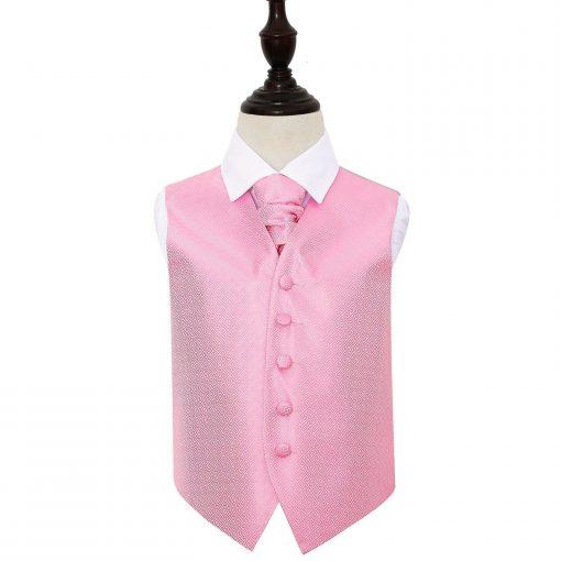 Baby Pink Greek Key Wedding Waistcoat & Cravat Set for Boys