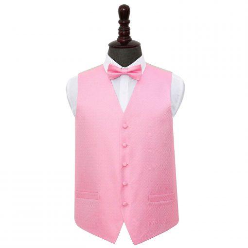 Baby Pink Greek Key Wedding Waistcoat & Bow Tie Set