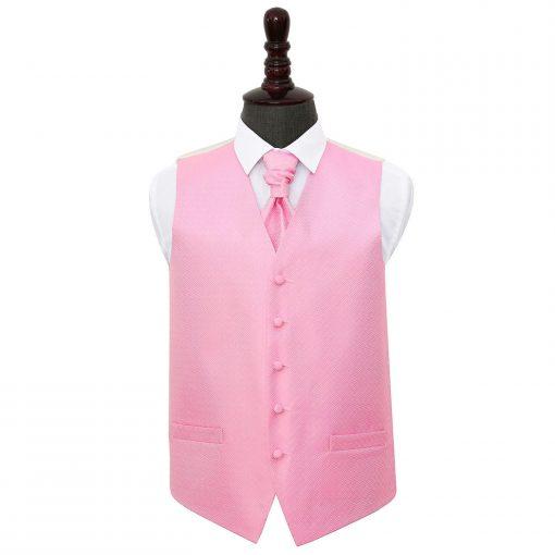 Baby Pink Greek Key Wedding Waistcoat & Cravat Set