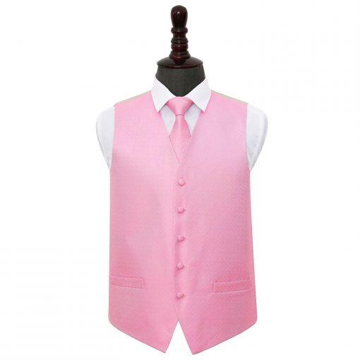 Baby Pink Greek Key Wedding Waistcoat & Tie Set