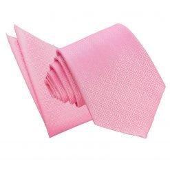 Baby Pink Greek Key Tie & Pocket Square Set