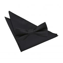 Black Greek Key Bow Tie & Pocket Square Set