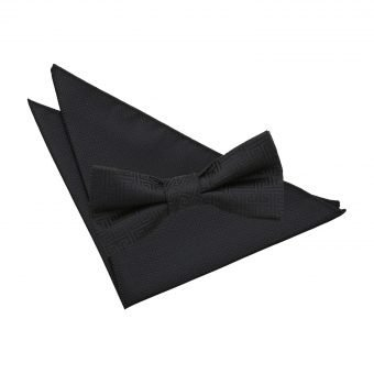 Black Greek Key Bow Tie & Pocket Square Set