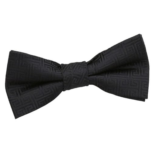 Black Greek Key Pre-Tied Bow Tie for Boys