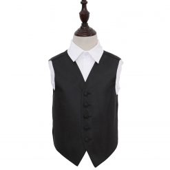 Black Greek Key Wedding Waistcoat for Boys