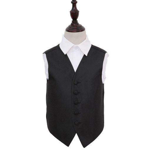 Black Greek Key Wedding Waistcoat for Boys
