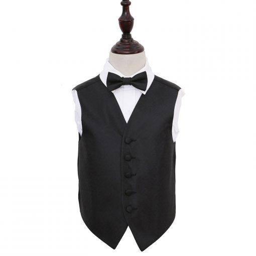 Black Greek Key Wedding Waistcoat & Bow Tie Set for Boys