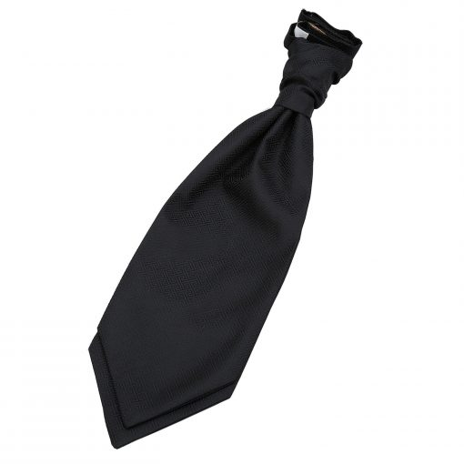 Black Greek Key Pre-Tied Wedding Cravat