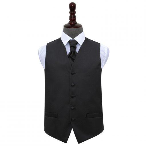 Black Greek Key Wedding Waistcoat & Cravat Set